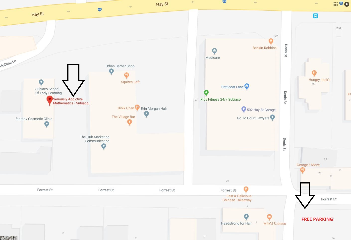 Subiaco Location Map