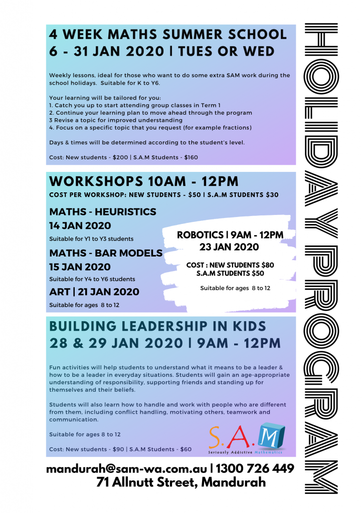 2020 School Holiday Program Print